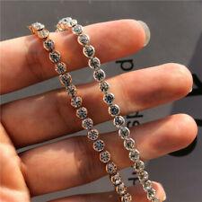 Fashion 925 Silver Shine Round CZ Rhinestone Tennis Bracelet Engagement Jewelry