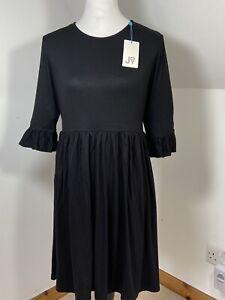 Joy Jody Dress Black Shift Size 14 Flared 3/4 Sleeves Stretchy Relaxed T-Shirt