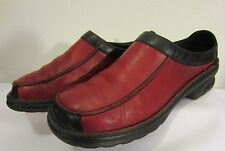 JOSEF SEIBEL Red LEATHER w Black Trim Comfort Walking CLOGS US 9.5 EU 41