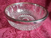 Vintage Cut Glass Bowl with Silver Plated Rim Germany 8 Inches 3 1/2 Inches Deep