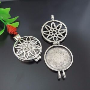 Lot of (x2) Alloy Vintage Silver Hollowed Flower Round Pendant Locket 30mm