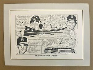 "California Angels "" ANAHEIM STADIUM "" Historical Lithograph Print 22"" x 17"""