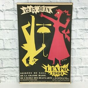 Vintage original Mid Century Modern 1951 Poster French L' Expo 1900