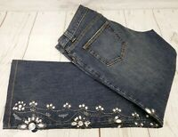 INC International Concepts Embellished Boot Cut Jeans Sz 8 Rhinestone Denim