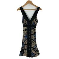 Honey & Beau Womens Dress Size 8 Black Floral Sleeveless V-Neck Button Closure