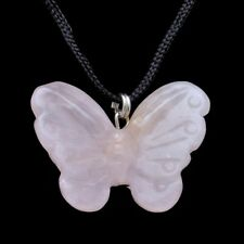 Butterfly Pink Rose Quartz Gemstone Pendant Hand Carved Stone Necklace