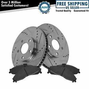 Brake Rotor & Ceramic Pad Front Drilled Slotted Set for Pontiac Chevy