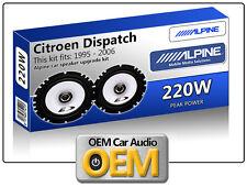 """Citroën Dispatch puerta delantera Altavoces Alpine 17cm 6.5"""" KIT DE PARA COCHE"""