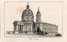 Stampa antica TORINO  veduta della Basilica di Superga 1892 Old print