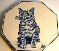 ANTIQUE TILE SIGNED KITTY CAT HP POTTERY TRIVET TILE GALLE STYLE