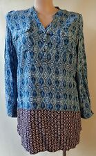 New Millers size 18 blue border print top NWT long sleeves