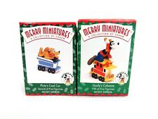 Vintage Hallmark 1998 Merry Miniatures Goofy's Caboose and Pluto's Coal Car 2H