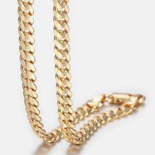 4.5mm Yellow Gold Filled Chain Necklace Cut Curb Cuban Link Men Women 20