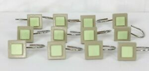 Shower Curtain Hooks - Silver With Green Beige and Green Tile Set of 12 Rustic