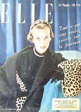 MAGAZINE ELLE N° 253 de 1950 MODE COUTURE LA FOURRURE LE VELOUR TAILLEUR DU SOIR
