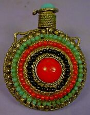 VINTAGE TIBETAN SILVER FILIGREE SNUFF BOTTLE with FAUX TURQUOISE & CORAL