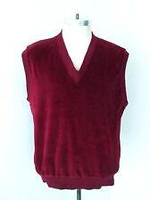 Vgc Vtg 60s Rat Pack Burgundy Velour Front Acrylic Knit Back Sweater Vest L