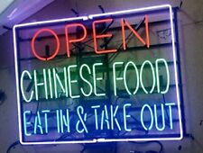 """New Open Chinese Food Eat in & Take Out Beer Bar Neon Light Sign 24""""x20"""""""