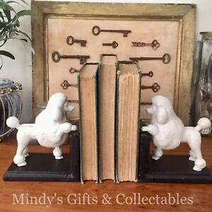 Set of  2 Heavy Antique Style Cast Iron Poodle Dog Book Ends Bookends Doorstop