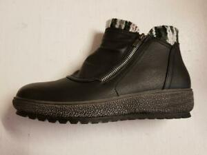 Womens L83 Cipriata Ankle Black Faux Leather Boots Wedge Zip Winter Warm Boots