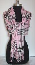 Pink PLAID/CHECK Pashmina long scarf stole wrap shawl soft UNISEX (#P3)