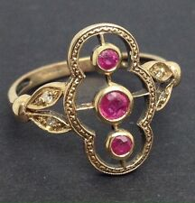 9ct gold ruby & diamond ring UK size M 1/2, new, actual one. UK Seller.