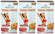 3 X Hyleys 100% Natural Garcinia Cambogia & Goji Berry Slim Green Tea, 25 Teabag