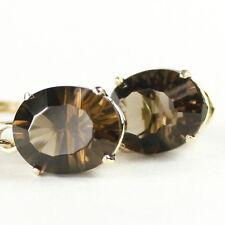 Smoky Quartz, 14KY Gold Leverback Earrings, E107-Handmade