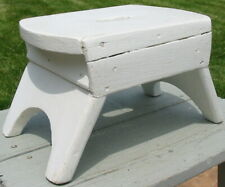 Vtg Tiny Step Stool Foot Bench White Oil Paint Wood Wooden Country Old Handmade