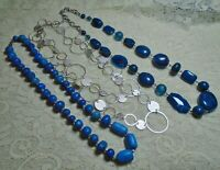 VINTAGE TO NOW ASSORTED BLUE STONE & LUCITE BEADED SILVER TONE NECKLACE LOT