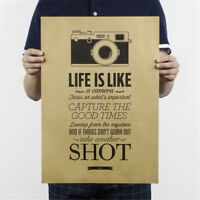 life is like a camera poster cafe bar painting retro kraft paper wall sticker sa