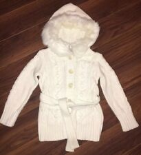 Gap Kids White Cardigan Sweater Cable Knit Hood Faux Fur Trimmed Size XS 4 5 NWT