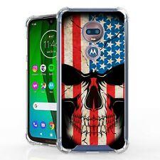 New listing For Moto G7 Play G7 Optimo Hybrid Bumper Shockproof Case Us Flag Skull
