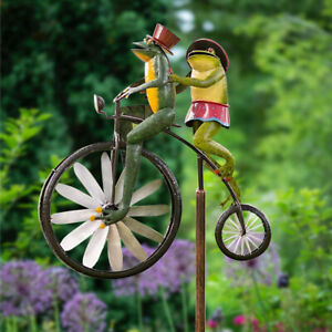 Frog Ornament Wind Spinner Riding Standing Vintage Bicycle Garden Yard Deco Iron