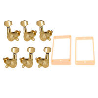 Gold Curved Humbucker Pickup Mounting Rings+3R3L Tuners for LP Guitar Parts