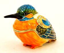 Colorful Kingfisher Bird Trinket Box. Hand Painted Enamel & Swarovski Crystals