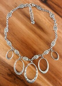 Brighton Swinging Sixties Oval Hoops Short Statement Silver Chain Necklace