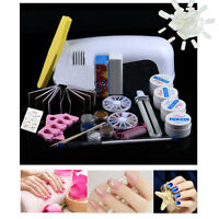 Pro Advanced Acrylic Nail Art Set Full Powder Liquid Tip Clipper Gems Kit Newest
