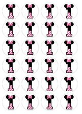 24 x Minnie Mouse 1st Birthday #1 Edible image cupcake toppers Pre-Cut