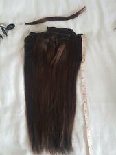 "REMY 100% Human Hair Extension 14"" medium dark brown no. 2. 15 clip wefts B"