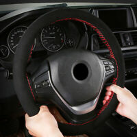 Universal Suede 37-38CM Car Accessory Steering Wheel Cover Hand Sewing Soft Top