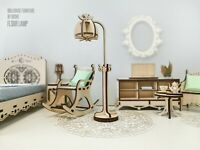 Laser cut wood Miniature Furniture Dollhouse BEDSIDE TABLE with LAMPS