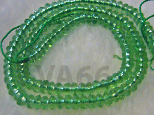 DIY Natural Peridot Green Obsidian Facetted Donut 3mm x 5mm Gemstone Disc Wheel
