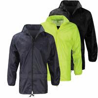 Mens Waterproof Taped Seams Kagoul Hooded Rain Jacket Work Overcoat Size
