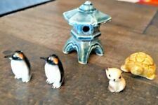 Wade Figurines Whimsies Set of 5 Vintage Ceramic Pieces Pagoda Turtle Penguin +1