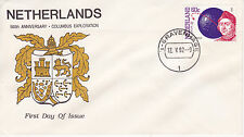 1992 500th ANNIVERSARY OF CHRISTOPHER COLUMBUS EXPLORATION FDC - NETHERLANDS