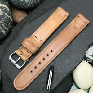 """Rare Light Brown Shell Cordovan 5/8"""" & Elgin Buckle nos 1950s Vintage Watch Band"""