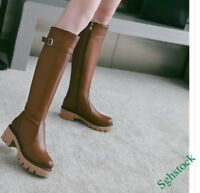 Vintage Women's Knee High Boots Faux Leather Platform Block Round Toe Shoes SIZE