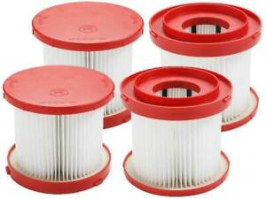 Casa Vacuums Filter 4 Pack For Milwaukee 49-90-1900 Wet/Dry Cordless Cleaner