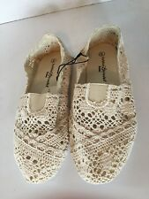 Bobby Brooks Women's Size 6 Cream Crochet Flat Sole Casual Slip On Shoes NWT